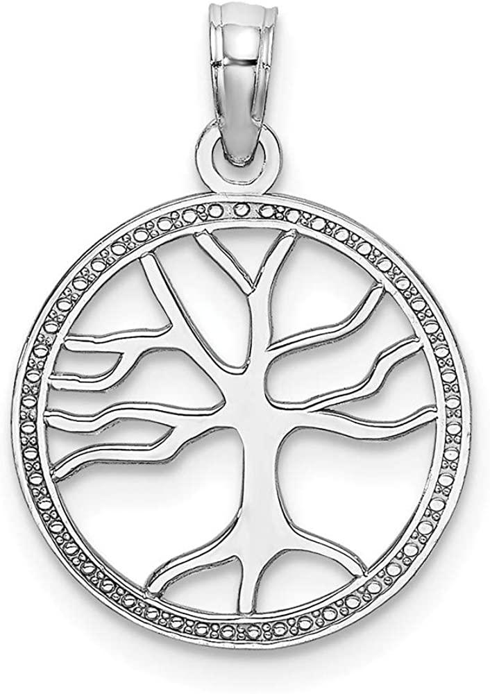 Solid 14K White Gold 3-D Small Tree of Life In Round Frame Charm Pendant - 18mm x 14mm