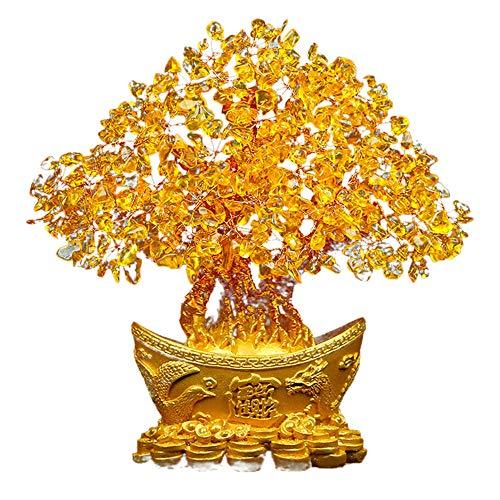 TOPmountain Árbol de Cristal Citrino, árbol de Dinero de Bonsai de Base de Cristales de racimo de Cuarzo para Riqueza y Suerte, Regalo de Feng Shui, decoración de Mesa para el hogar y la Oficina