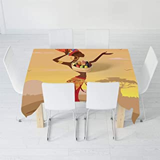 Waterproof Tablecloth,Afro Decor,for Dining-Table Tea Table Desk Secretaire,84 X 70.1 Inch,African Woman in Desert with Gulls Flying
