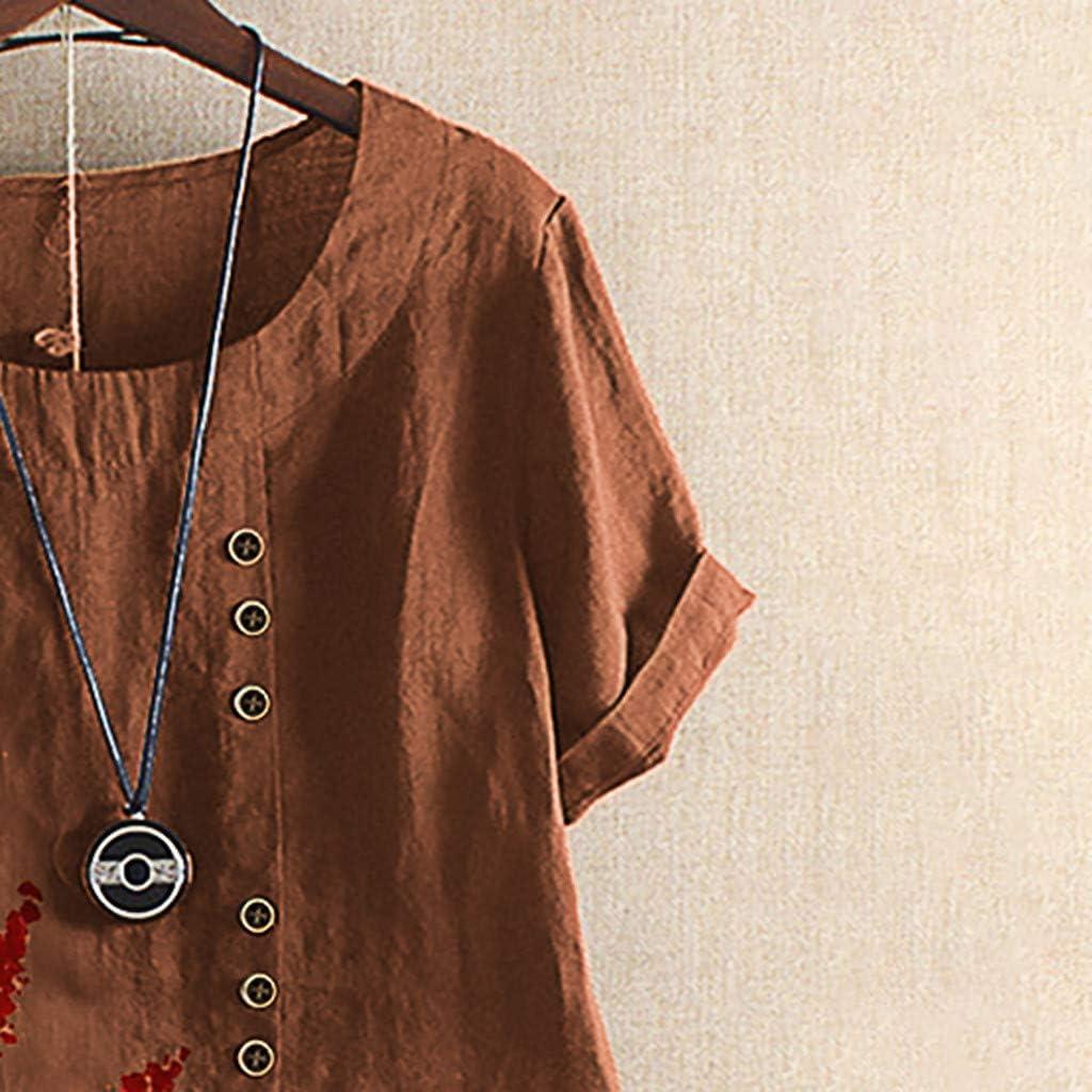 Womens Embroidered Blouse Tunic Linen Tops Short Sleeve Hi-Low Hem Shirt Cotton Linen Jacquard Blouses Top T-Shirt