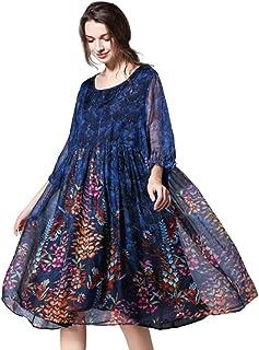فساتين للنساء شيفون فضفاض رقبة دائرية 3/4 كم فستان صيفي دانتيل وردي مقاس إضافي متأرجحة متوسط الطول، أزرق، 3XL