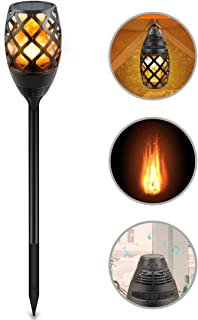 SOXONO Solar Torch Lights, Flame Lamp Built-in Portable Bluetooth Speaker Solar LED Flickering Garden Camping Lights Outdoor HD Audio Waterproof Compatible iOS/iPad/Android Samsung