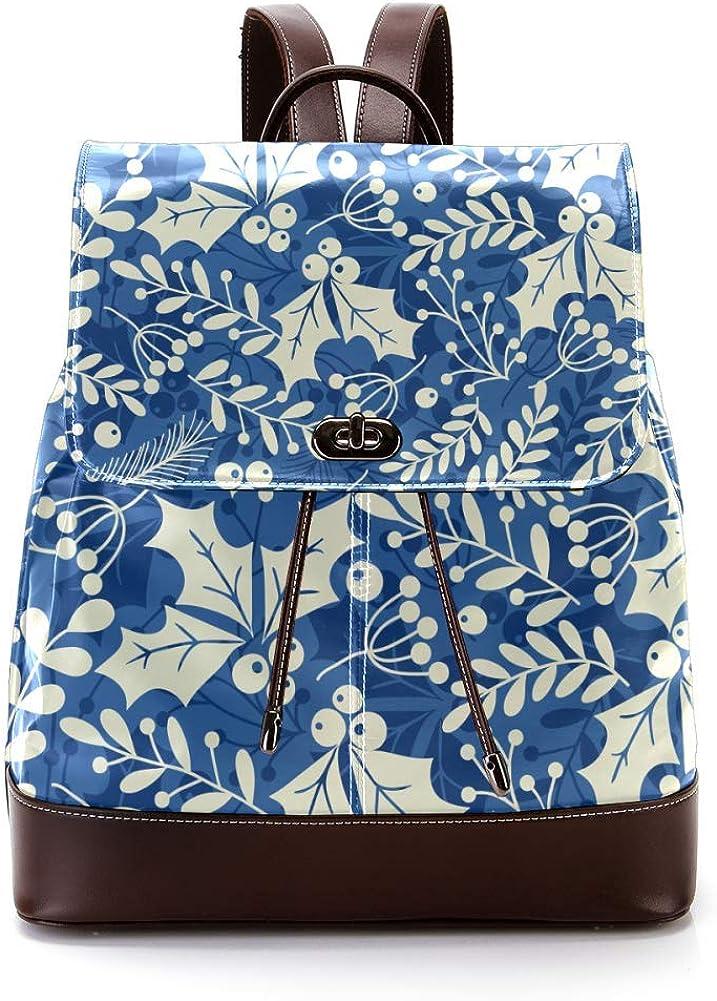 Blue Holly Leaves PU Leather Backpack Fashion Shoulder Bag Rucksack Travel Bag for Women Girls