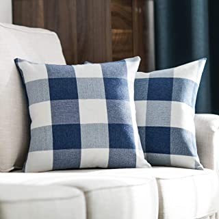 MIULEE Pack of 2 Decorative Classic Retro Checkers Plaids Throw Pillow Covers Cotton Linen Soft Soild Pillow Case Dark Blue Cushion Case for Sofa Bedroom Car 20 x 20 Inch 50 x 50 cm