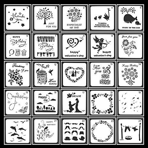 Guwheat 25 piezas de plantillas para pintar, plantillas de formas cuadradas, herramientas de dibujo para libro de recuerdos/diario con bolsa de almacenamiento, 13x13 cm
