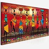 Pinturas en lienzo Arte de la pared Cuadros Etnicos Impresiones de arte tribal Mujeres africanas Bailando Pintura al óleo Cuadro Decoración para sala de estar 30x100cm (12'x39') Sin marco
