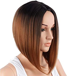 NEJLSD Wig Synthetic Short Straight Cos Wigs Heat Resistant Synthetic Hair Wig for Women Shoulder Length 16 inch (Gold)