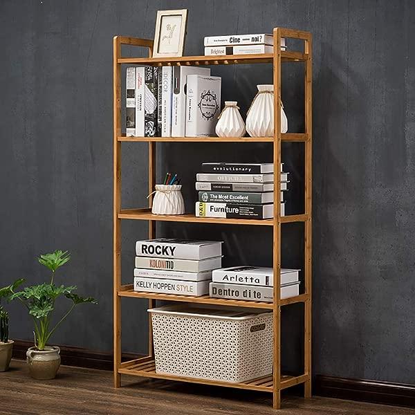 DULPLAY Bamboo 5 Tier Bookshelf Shelf Display Rack Open Shelf Narrow Library Display Stand Tall Multipurpose For Home Or Office I 68x25x128cm 27x10x50inch