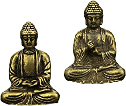 F Fityle 2pCS Brass Mini Antique Sakyamuni Buddha Statue Ornaments Meditation Seated