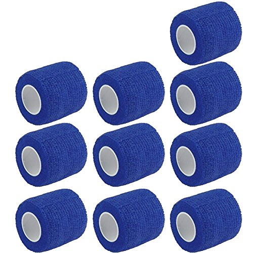 ESUPPORT 2 Inches X 5 Yards Self Adherent Cohesive Wrap Bandages Strong Elastic First Aid Tape for Wrist Ankle Blue Pack of 10