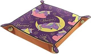Sleeping Unicorn Moon Organizador de almacenamiento junto a la cama de cuero Mesita de noche Aparador de escritorio Joyerí...