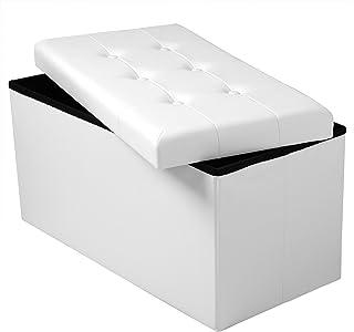 WOLTU® SH16ws Tabouret Pouf Coffre Pliable Banc Boîte de Rangement rembourré en Simili Cuir,capacité de Charge jusqu'à 300...