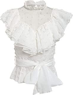 Vintage lace White Blouse Women Transparent mesh dot top Chiffon sash Elegant Femme Shirt