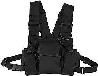 タクティカルベスト - Delaman チェストバッグ、ウォーキートーキー 保護、多用途、実用的 ナイロン、超耐久性、調節可能、ブラック