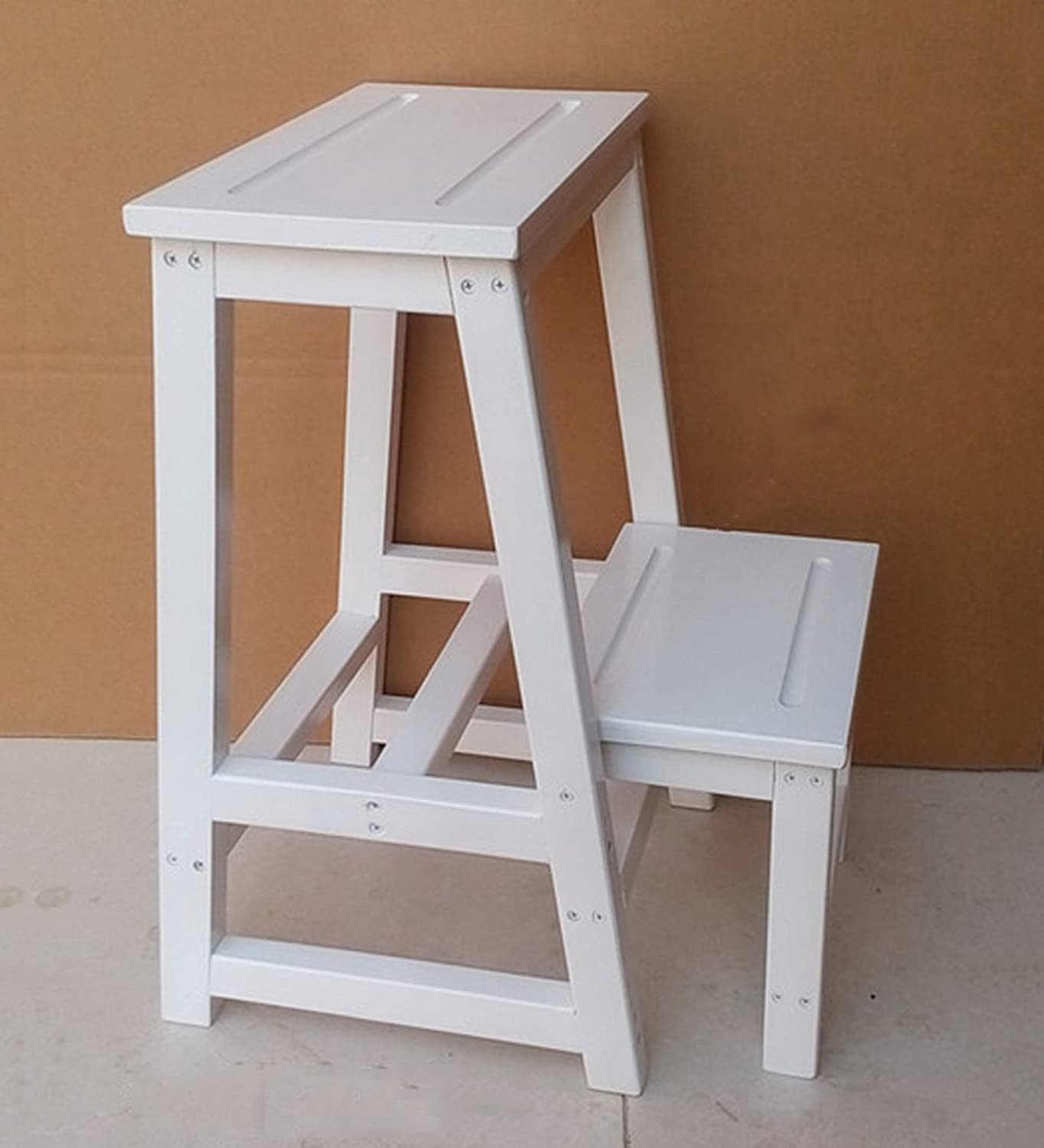 CAIJUN Folding Ladder Stool Solid Wood End Product Dual-use Climb High Changing His shoes Stool, 3 colors (color   White)