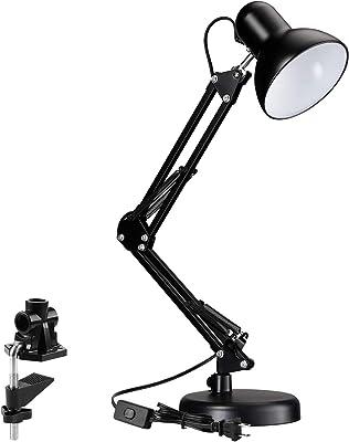 SHIJIAN Swing Arm métal lampe de bureau, Interchangeable base ou Clamp, classique sur l'étude Lampe de table, multi-joint, bras réglable, finition noire,Décoration Lampe de Table,lumière de lecture