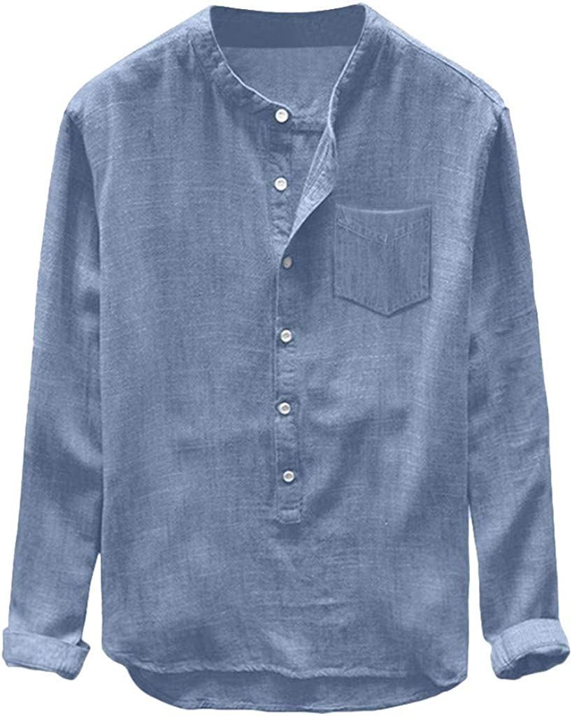 Aayomet Men's Linen Shirts Long Sleeve Cotton Henley T Shirts Casual Loose Yoga Sport Beach Tee Shirts Tops