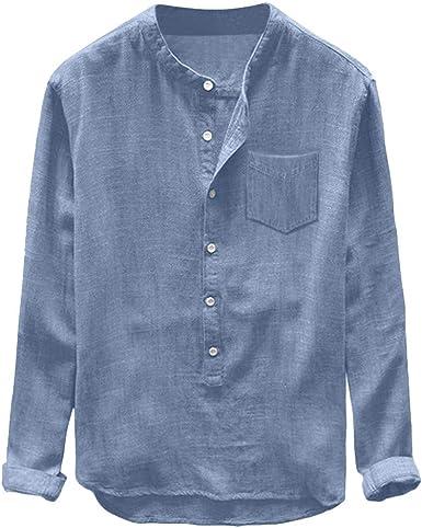 CAOQAO- Camisa de los Hombres Moda Hombre otoño Invierno botón Casual Lino y algodón de Manga Larga Blusa Superior