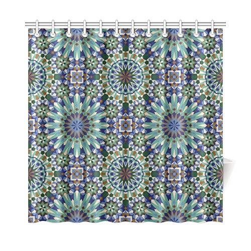 QIAOLII Wohnkultur Bad Vorhang Marokkanischen Stil Mosaikfliesen Polyester Stoff Wasserdicht Duschvorhang Für Bad, 72X72 Zoll Duschvorhang Haken Enthalten