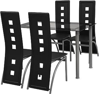 vidaXL Conjunto Elegante de Comedor una Mesa y Cuatro Sillas en Color Negro