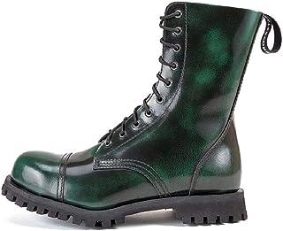 Altercore 551 Botas Militares Verde Frotado Cuero Unisex Mujer Hombre 10 Ojales Army Punk Puntera de Acero Ranger