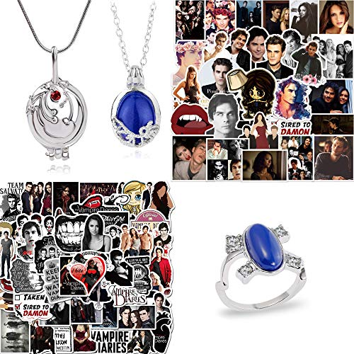 The Vampire Diaries Merchandise, 100 Pcs Vampire Diaries Stickers, Daywalking Katherine Necklace Pendant Charm Necklace Royal Blue and Elena Gilbert Opening Vervain Pendant Necklace, and Elena Sapphire Crystal Ring for Fans by THREEMAO