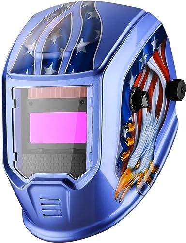 new arrival DEKOPRO Welding Helmet Auto Darkening Solar Powered Hood with Adjustable Shade Range 4/9-13 wholesale for TIG MIG popular ARC Welder Mask Welder Mask (Blue Eagle) online