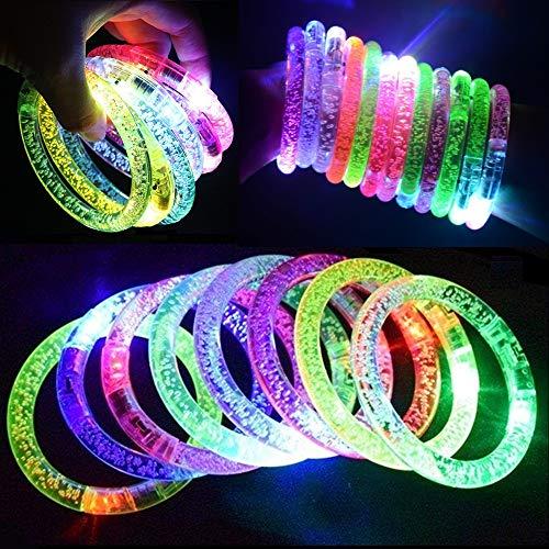 MuLucky LED Glowstick Armband, 12 Stück und 12 Ersatzbatterien blinkend Armreif blinkleucht Leuchtarmbänder für Kinder Geburtstag Party Disco Halloween Weihnachten