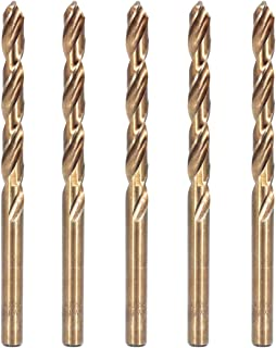 Hymnorq 5/16 Inch Fractional Size M35 Cobalt Steel Twist Drill Bit Set of 5pcs, Jobber Length and Straight Shank, Extremely Heat Resistant, Suitable for Repeated Drilling in Stainless Steel