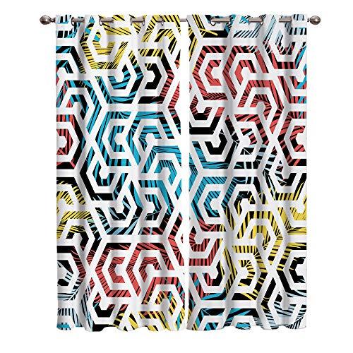 QWFDAQ Cortinas Salon Geometría Abstracta Amarillo Rojo Azul Blanco Cortinas Opacas 110cm x215cm x2 Cortinas habitacion - Cortinas aislantes para salón, Dormitorio, Oficina, balcón