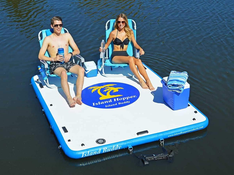 快適季節カプセルIsland Hopper Island Buddy 空気注入式水泳水プラットフォーム