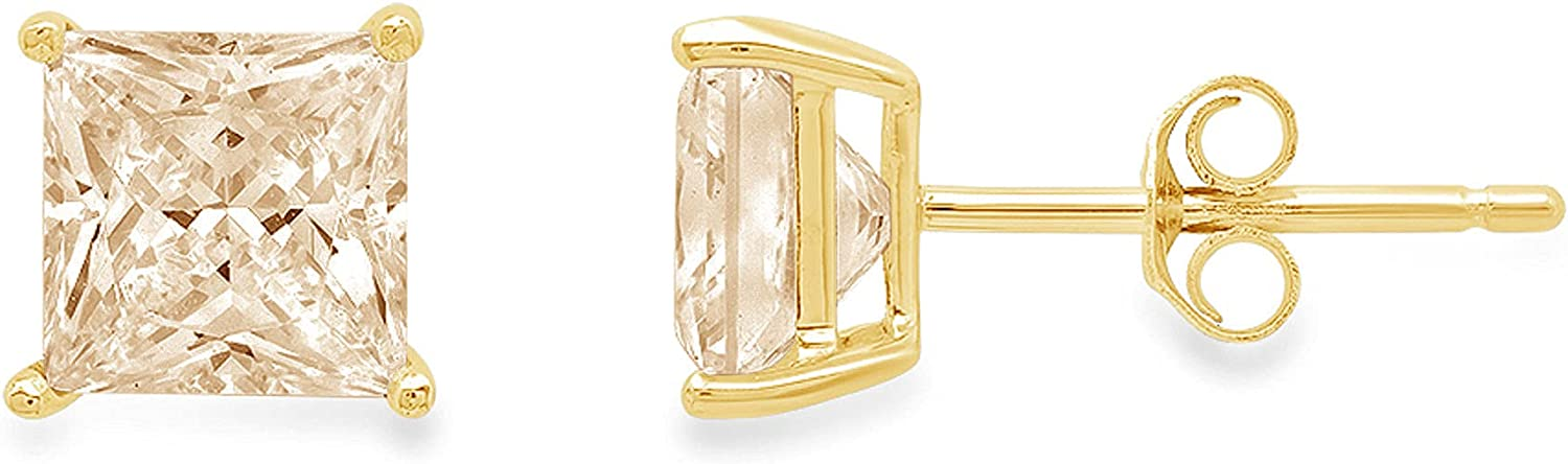 3.94cttw Brilliant Princess Cut Conflict Free Solitaire Genuine Yellow Moissanite Gemstone Unisex Pair of Designer Stud Earrings Solid 18K Yellow Gold Push Back
