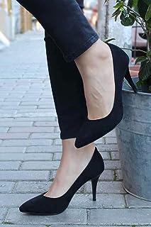 8 cm Stiletto Topuklu Bayan Ayakkabı - Siyah Süet Bega