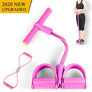 Kaqulec Natural Latex Elastic Pull Rope Yoga Resistance Bands,with Handle Fitness Equipment Bodybuilding Expander and Figure 8 Exercise Band for Abdomen/Waist/Arm/Leg Stretching Slimming Training