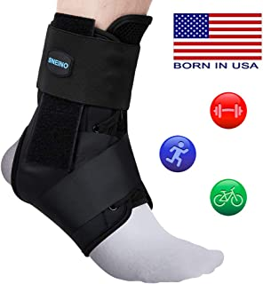 SNEINO Ankle Brace Lace up Ankle Brace,Ankle Brace for Men,Ankle Brace for Women,Ankle Brace for Sprained Ankle,Ankle Brace Stabilizer,Volleyball Ankle Braces,Ankle Brace for Running(Large)