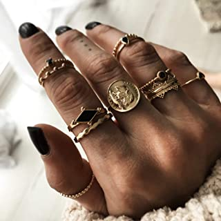 YERTTER 9PCS Vintage Gold Ring Set Portrait Crystal Joint Knuckle Ring Set Finger Rings Stackable Retro Mid Rings for Wome...
