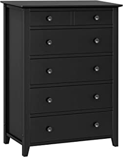 VASAGLE Chest of Drawers, Classic 5-Drawer Dresser with Solid Wood Frame, Pre-Installed Slide Rail, Easy to Assemble, Storage Unit for The Bedroom, Living Room, Kid's Room, Black URCD01BK