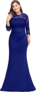 Women's Retro Floral Lace 3/4 Sleeve Slim Ruched Bridesmaid Maxi Dress