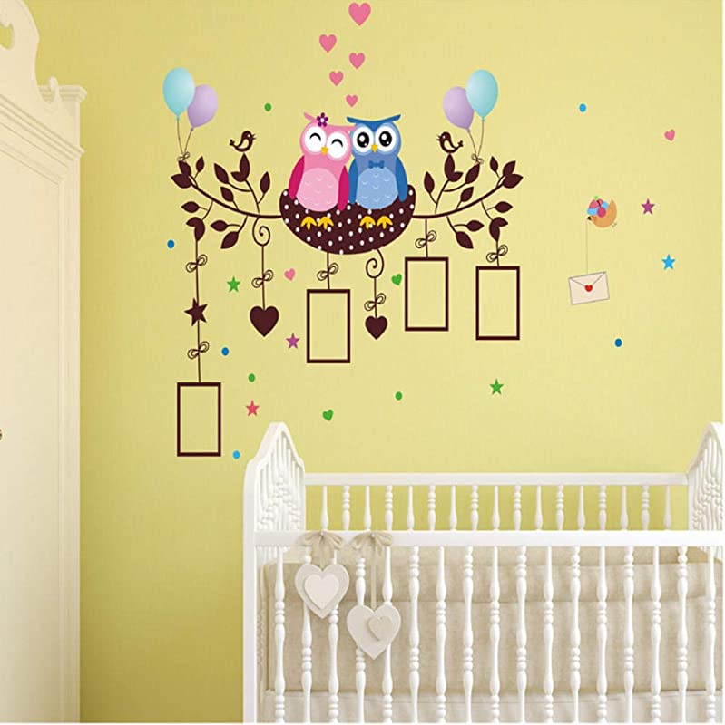 Wangjru Happy Owls Photo Wall Sticker Cartoon Wallpaper For Baby Bedroom Children Home Decals DIY Adhesive PVC Decoration Art Posters