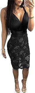 Women's Clubwear Bodycon Sexy Halter Deep V Neck Backless Bandage Lace Dress(Black-XX-Large)