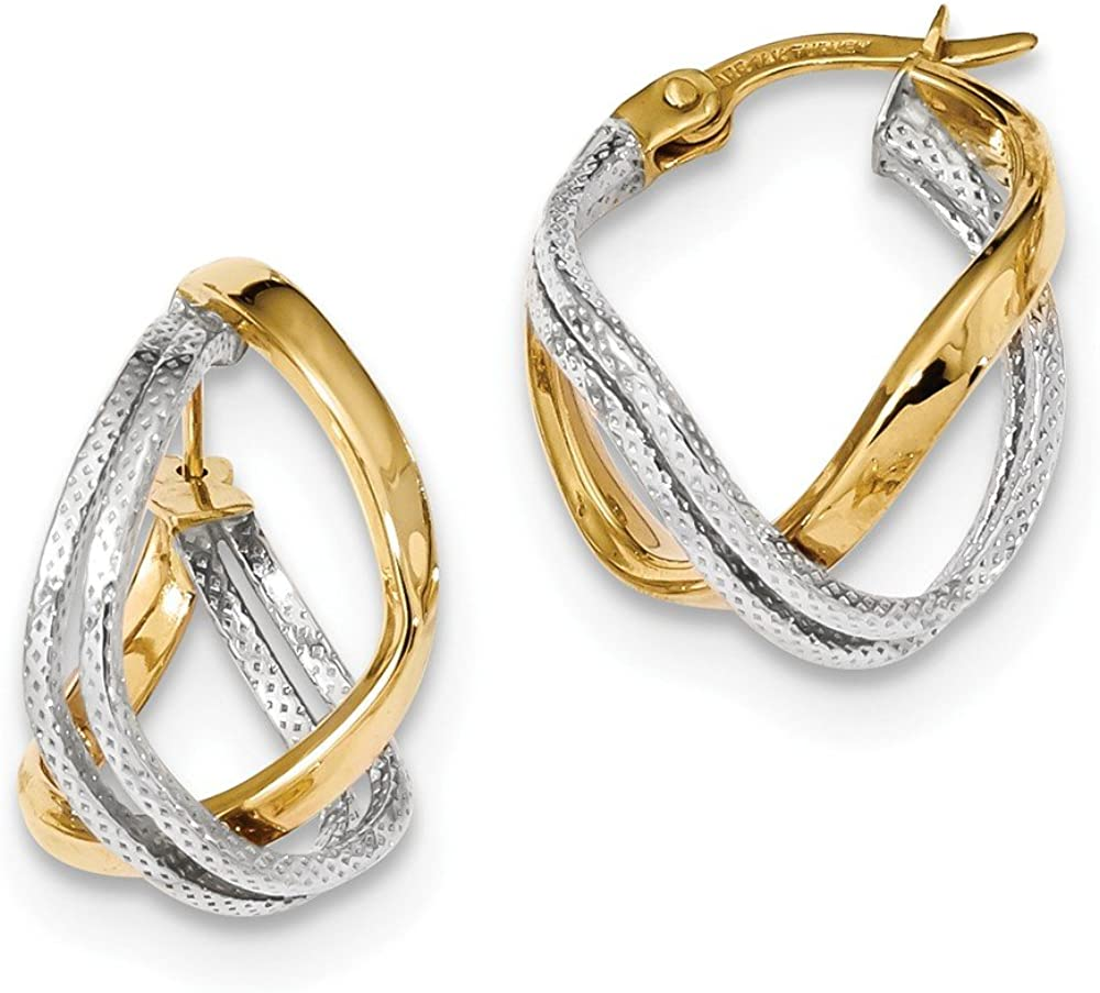 14k Two Tone Yellow Gold/textured Twisted Double Hoop Earrings Ear Hoops Set Fine Jewelry For Women Gifts For Her