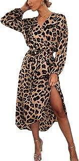 Womens Leopard Print Dress Side Split Dress Long Dress Clubwear with Belt