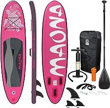 ECD Germany Opblaasbare Stand Up Paddle Board Maona | 308 x 76 x 10 cm | Roze | PVC | tot 120 kg | Pomp Draagtas Accessoir...