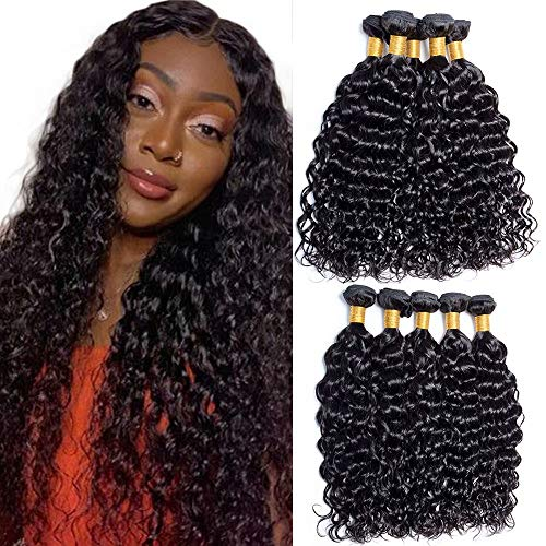 Maxine 9A Grade Uprocessed Malaysian Water Wave Virgin Hair 3 Bundles Remy Human Hair Wet and Wavy Hair Weave Extension Natural Color (22 22 22, Natur