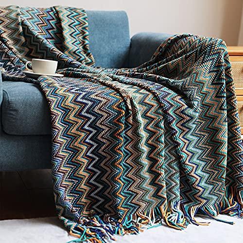 Qucover Manta de punto suave de 130 x 200 cm, de microfibra de alta calidad, como manta de picnic, funda de sofá, colcha o manta de dormitorio, para verano, estilo bohemio con borlas, color: azul