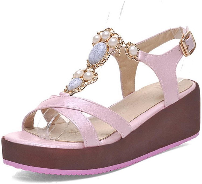 AmoonyFashion Women's Open-Toe Buckle PU Solid Kitten-Heels Sandals