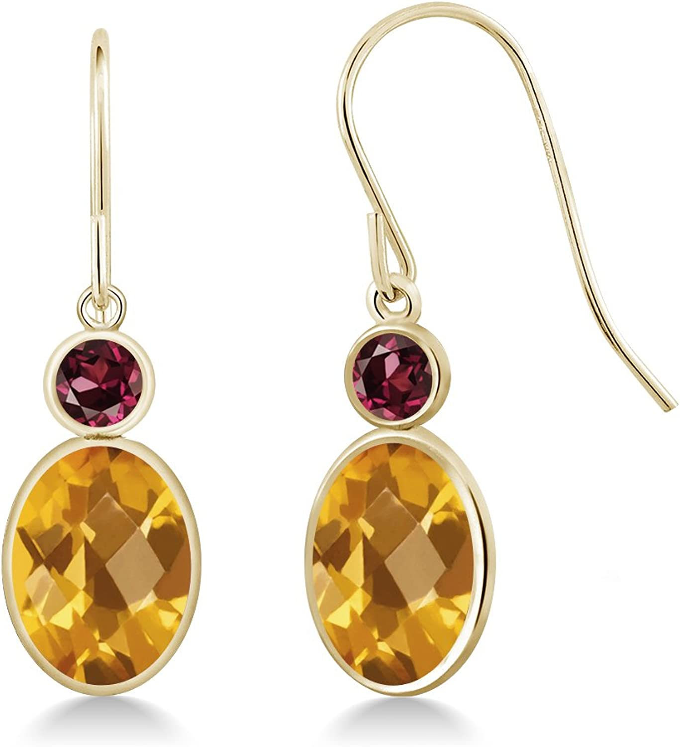 2.74 Ct Oval Checkerboard Yellow Citrine Red Rhodolite Garnet 14K Yellow gold Earrings