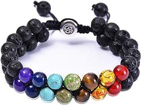 CUKEYOUZ Lava Rock 7 Chakra Tiger Eye Beads Bracelet Adjustable Natural Stone Oil Diffuser Bracelets Gift