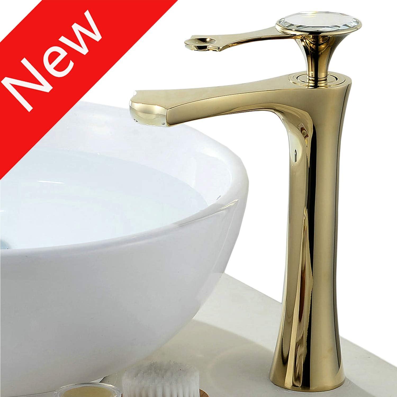 Tall Vessel Basin Faucet Single Lever Washroom Bathroom Sink Tap Leak Proof Valve Mute Aerator Water Saving Lead Free gold Finish
