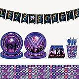 LaVenty 33 PCS Disco Party Supplies Lets Boogie Banner Disco Party Plates and Napkin Lets Boogie Party Supplies Lets Boogie Decoration